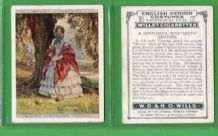 Tobacco cigarette cards set  English Period Costumes 1927